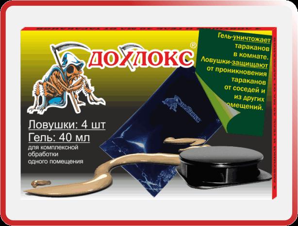 7 1 - Дохлокс от тараканов, ловушки (4 шт) и гель (40 мл). Премиум линия
